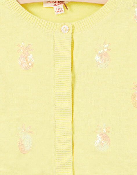 Cardigan a maniche lunghe con ananas in paillettes ricamate LAJAUCAR1 / 21S901O2CAR116