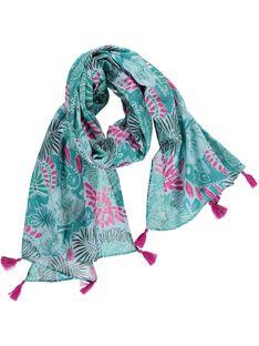 Girls' tropical print scarf CYADOUFOUL / 18SI01J1FOU099