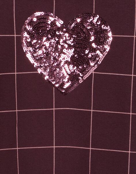 Abito maniche corte a quadri con colletto Peter Pan e cuore in paillettes sul davanti GAJOROB6 / 19W90141D2FI809