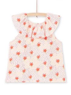 T-shirt nude con collo con volant e stampa fenicottero rosa e palma bambina LATERTI1 / 21S901V1TMCD322