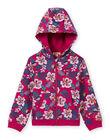 Top sportivo con cappuccio fucsia con stampa a fiori bambina MAJOHAUJOG1EX / 21W90115JGHD312