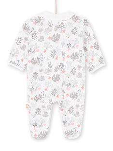 Tutina bianca con stampa fondo marino nascita bambina LOU2GRE1 / 21SF03I1GRE000
