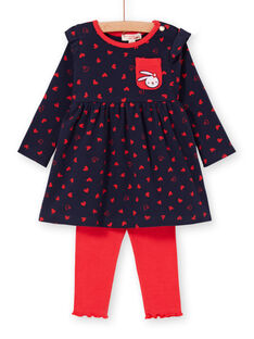 Abito navy e leggings rossi neonata LIHAENS / 21SG09X1ENS070