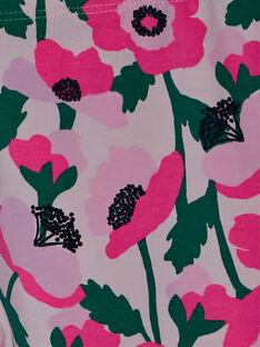 Leggings bambina con fiori rosa e dettagli fluo JYAPOELEG2 / 20SI01G1CAL301