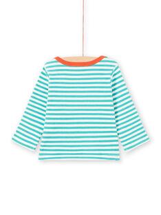 T-shirt maniche lunghe a righe turchesi e bianche motivo procione neonato MUJOTEE2 / 21WG1023TMLC217