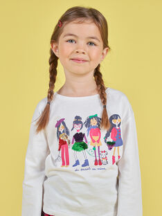 T-shirt con maniche a sbuffo ecrù con stampa squali double face bambina MAMIXTEE4 / 21W901J5TML001