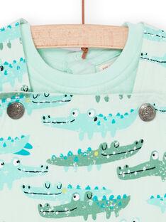 Salopette e t-shirt verde acqua e verde neonato LUVERENS / 21SG10Q1ENSG621