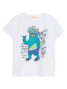 T-shirt bambino bianca con stampa mostro JOQUATI5 / 20S902R2TMC000
