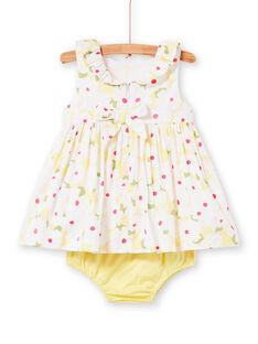 Abito bianco con stampa a fiori e bloomer giallo neonata LIBALROB1 / 21SG09O2ROB000