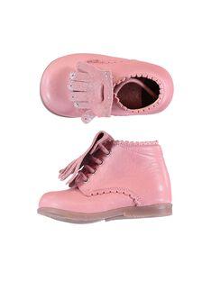 Stivaletti pelle rosa con frange amovibili neonata GBFBOTIPATP / 19WK37I1D0F030
