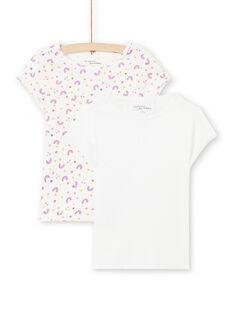 Set 2 t-shirt bianche con motivi assortiti bambina MEFATEARC / 21WH11B2HLI001