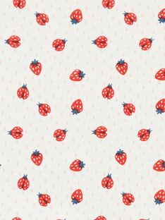 Body ecrù e rosso con stampa fragole in cotone neonato LEFIBODANI / 21SH132CBDL001