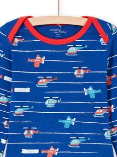 Set pigiama t-shirt e pantaloni blu e rosso stampa a righe ed elicotteri bambino MEGOPYJAVIO / 21WH1285PYJC214
