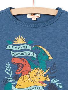 T-shirt maniche lunghe blu motivi dinosauri bambino MOPATEE2 / 21W902H2TML219