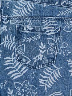 Salopette in jeans blu e bianca con stampa a fiori LANAUSAC / 21S901P1SACP274