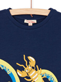 T-shirt blu con motivo piovra e astice - Bambino LONAUTI1 / 21S902P2TMC070