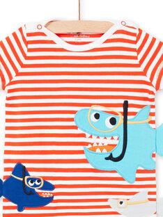 Pagliaccetto bianco neonato a righe motivi squali LEGAGREQUI / 21SH14C2GRE509