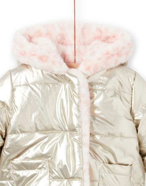 Piumino con cappuccio double face dorato e rosa neonata MIORDOUREV / 21WG0951D3EA006