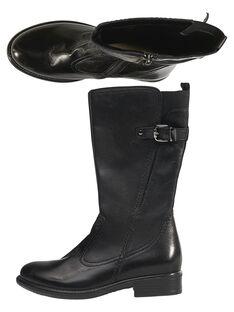 Stivali stile equitazione pelle neri bambina GFBOTTECAVA / 19WK35X1D10090