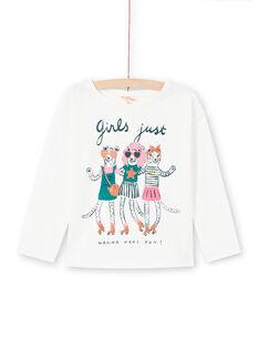 T-shirt a maniche lunghe ecrù e motivi animali fantasia bambina MAKATEE4 / 21W901I3TML001
