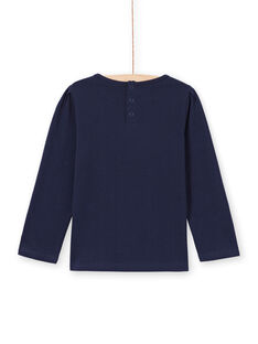 T-shirt a maniche lunghe blu notte con pizzo bambina MAJOSTEE1 / 21W90115TMLC205