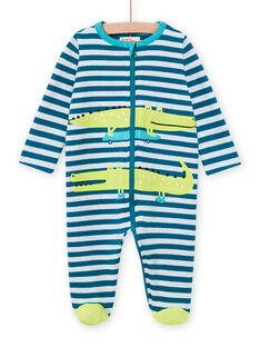 Tutina blu a righe con motivi coccodrilli neonato MEGAGRECRO / 21WH1482GRE715