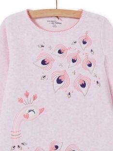Completo pigiama rosa melange con motivo pavone bambina MEFAPYJPEA / 21WH1132PYJD314