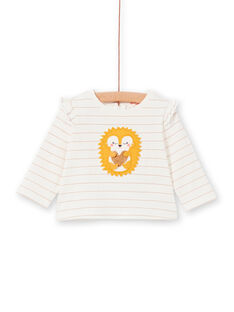 T-shirt ecrù e gialla a righe neonata LIPOETEE2 / 21SG09Y1TML001