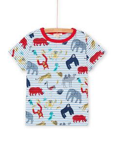 T-shirt ecrù e blu a righe e stampa animali bambino LOVITI1 / 21S902U1TMC001