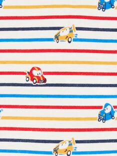 Body ecrù e giallo a righe e stampa automobile neonato LUHABOD2 / 21SG10X1BOD001