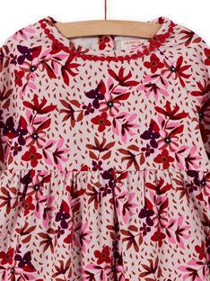 Abito in velluto a costine con stampa a fiori bambina MACOMROB1 / 21W901L1ROBD329