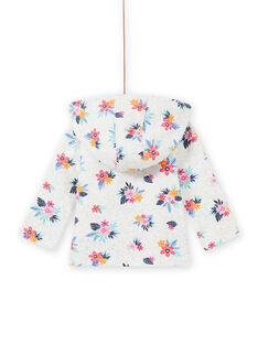 Felpa grigia melange con stampa a fiori neonata MIPLAHOJOG / 21WG09O1JGHJ920