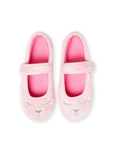 Ballerine rosa chiaro in finta pelliccia motivi gatto bambina MAPANTCATFUR / 21XK3522D07321