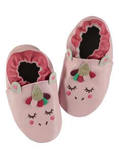 Babbucce unicorno pelle morbida rosa neonata GNFLICO / 19WK37Z4D3S321