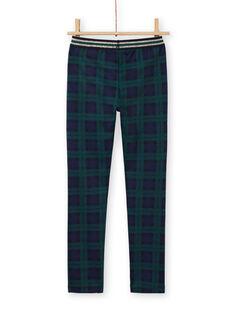 Pantalon milano blu e verdi con stampa tartan bambina MAJOMIL3 / 21W90113PANC243