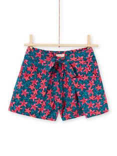 Shorts blu petrolio e rosso con stampa stella marina bambina LABONSHORT2 / 21S901W3SHO716