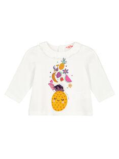T-shirt maniche lunghe ecrù neonata GIVIOTEE / 19WG09R1TML001
