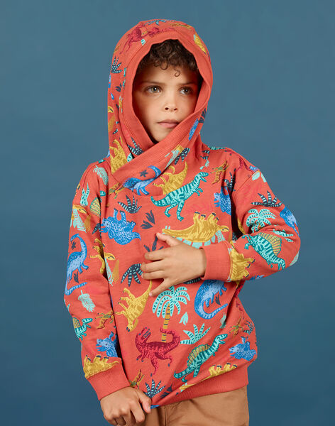 Felpa con cappuccio arancione bambino MOPASWE / 21W902H1SWEE415