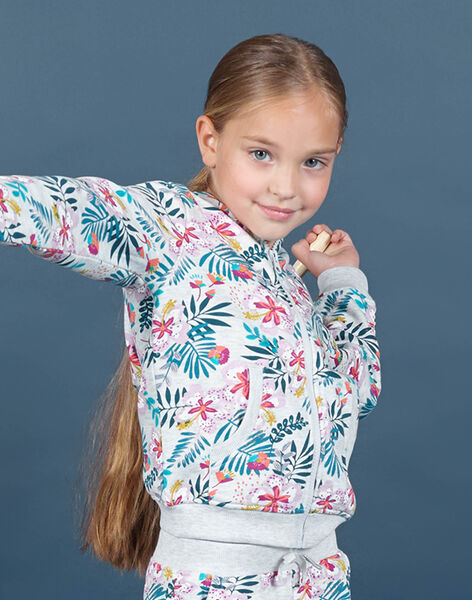 Giacca sportiva con cappuccio e stampa a fiori bambina MAJOHAUJOG1 / 21W90111JGH943