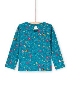 T-shirt a maniche lunghe petrolio con stampa a fiori bambina MATUTEE4 / 21W901K2TML714
