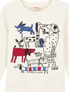 T- Shirt Maniche Lunghe Ecrù con Motivo GOTRITEE4 / 19W902J4TML003