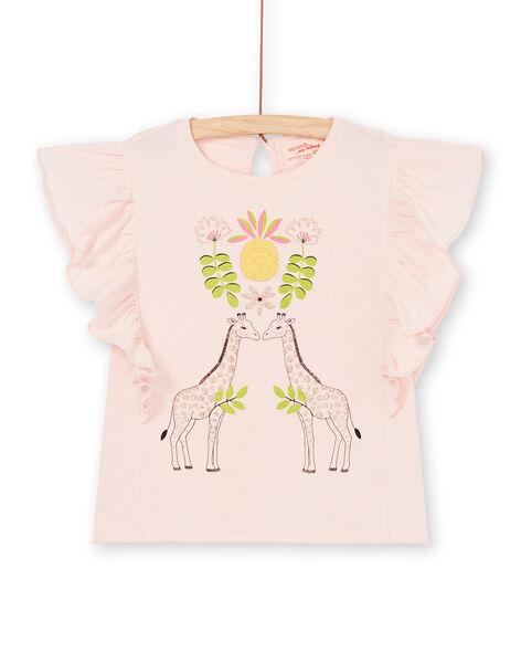 T-shirt rosa maniche corte con volant LAJAUTI1 / 21S901O1TMC307