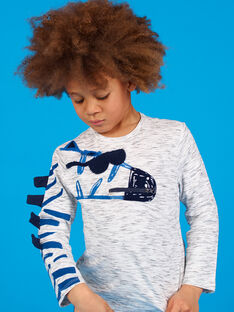 T-shirt grigio melange con motivo zebra bambino LOBLETEE3 / 21S902J2TMLJ920