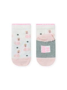 Calze ecrù e rosa con stampa cigno neonata MYIKASOQ / 21WI09I1SOQ001