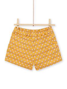 Shorts gialli e rosa con motivi a fiori in cotone bambina LAPOESHORT / 21S901Y1SHO107