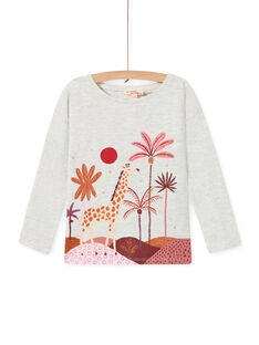 T-shirt ecrù melange con motivi fantasia bambina MACOMTEE2 / 21W901L3TML006