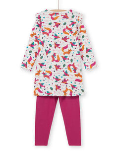 Camicia da notte bambina con stampa volpi con leggings fucsia LEFACHUBIC / 21SH1151CHN001
