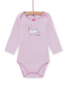 Body lavanda a righe con motivo unicorno neonata MEFIBODLI / 21WH13C3BDL326