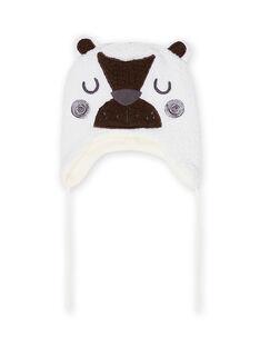 Berretto ecrù con motivo orsetto in sherpa neonato MYUGROBON3 / 21WI1063BON001