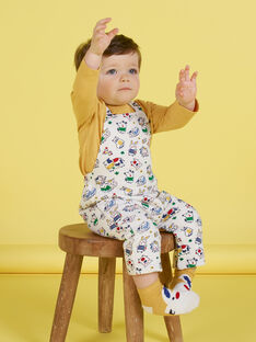 Salopette double face gialla con motivi animali neonato MUMIXSAL / 21WG10J1SAL001